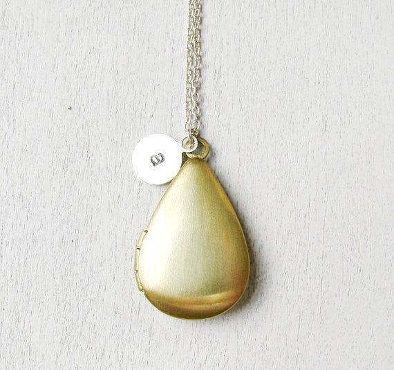 Vintage Brass Teardrop Locket Necklace