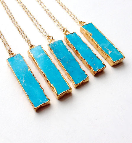 delicate layering necklace with turquoise pendant