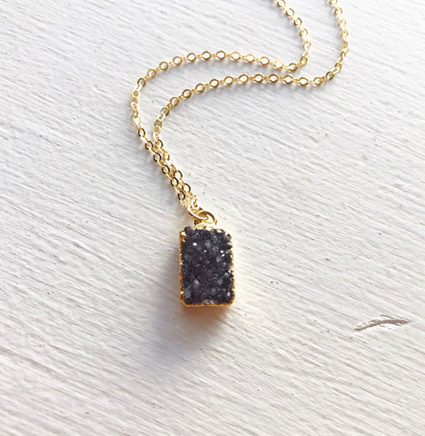 Purple Rectangle Druzy Pendant Necklace