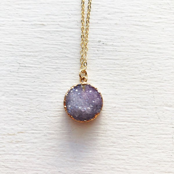 Lilac Purple and Gold Druzy Necklace
