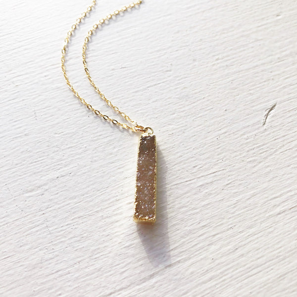 Latte Brown Vertical Bar Druzy Pendant
