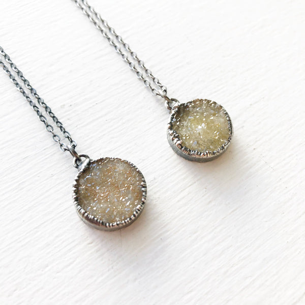 Brushed Sterling Silver Druzy Necklace