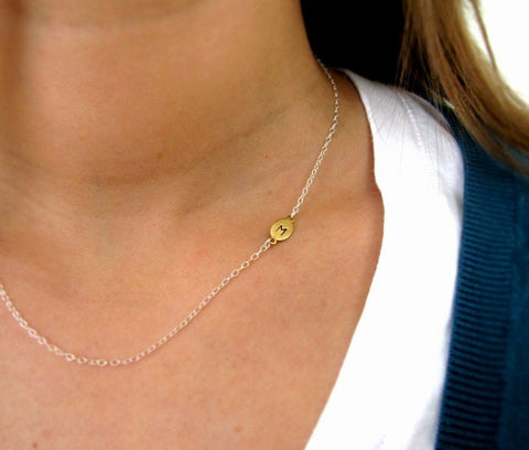 Sideways Initial Necklace In Brass