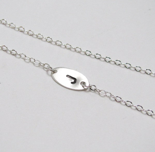 Tiny Sideways Initial Necklace