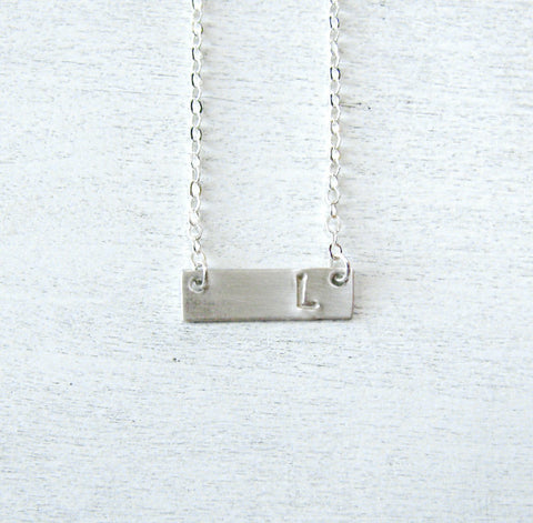 Sterling Silver Bar Necklace - Personalized Bar Pendant