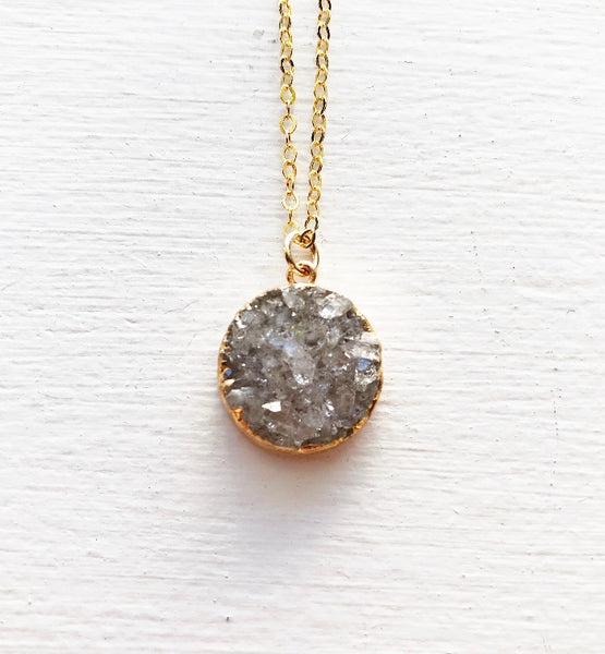 Silvery Gray and Gold Druzy Necklace
