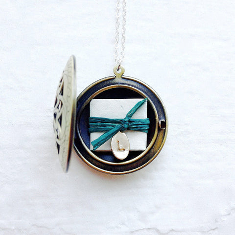 personalized locket with message inside