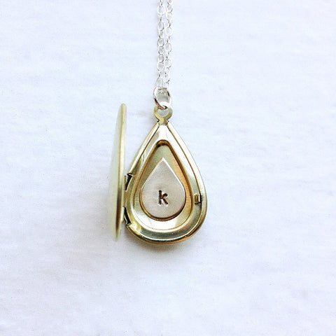 Personalized Initial Locket With Personalized Brass Teadrop Inside