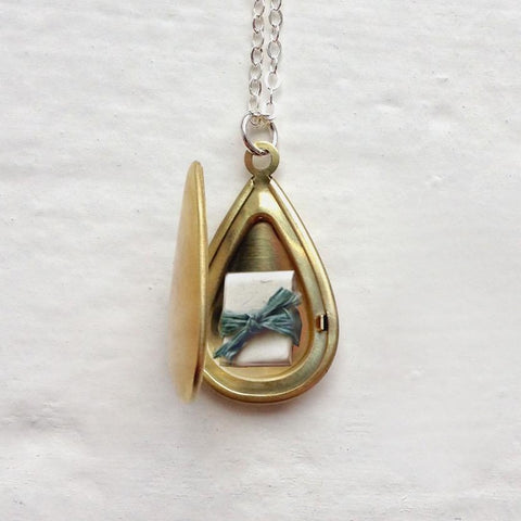 Secret Message Locket - Teardrop Locket