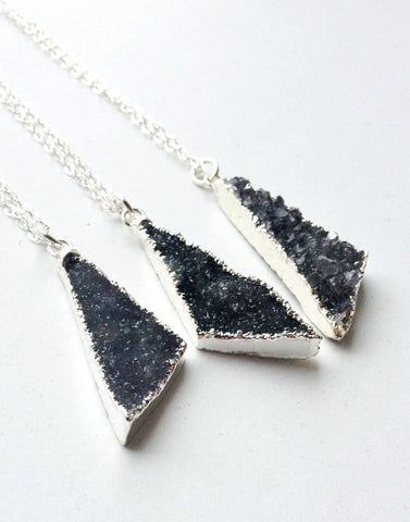 Druzy Necklace - Sterling Silver Triangle Necklace