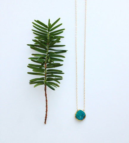 Turquoise Drop Pendant Necklace - Yoga Jewelry - Rebecca Tollefsen x Mountain Base Yoga