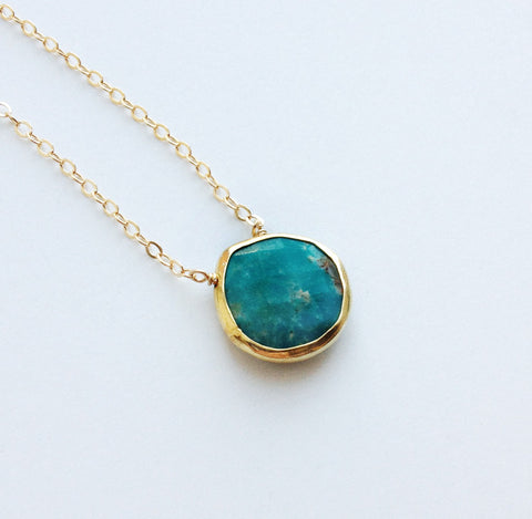 simple turquoise necklace pillow pendant