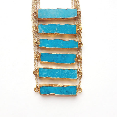 Turquoise Howlite Gold Bar Necklace
