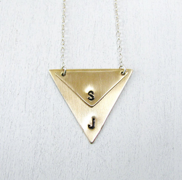 TWO TRIANGLES PERSONALIZED NECKLACE WITH SECRET DATE