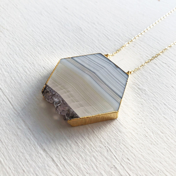 White Agate Hexagon Necklace