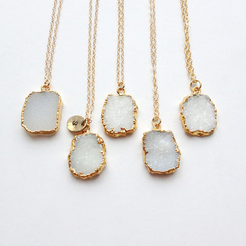 Snow White Druzy Pendant Necklace