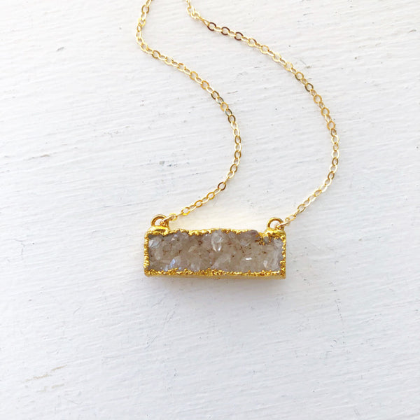 White Druzy Bar Necklace