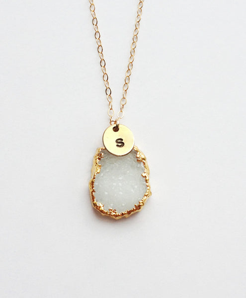 Raw Crystal Necklace with White Druzy Necklace