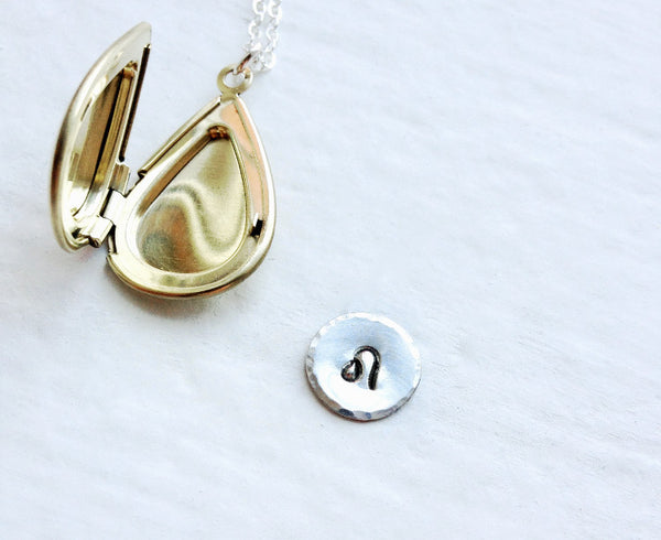 Personalized Initial Locket With Sterling Silver Personalized Disc Inside