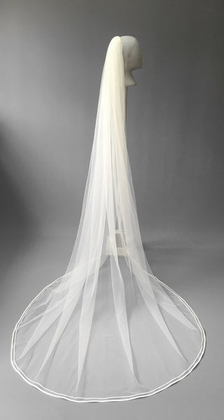 SAMPLE VEIL - Custom long length 1 tier double satin edged veil