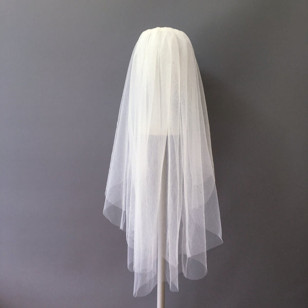 SAMPLE VEIL - Waist length 2 tier Genoa veil