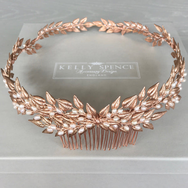 Kelly Spence Midsummer Halo in Rose Gold and Freshwater Pearl - front view