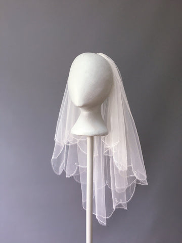 SAMPLE VEIL - Waist length 2 tier Antigua veil