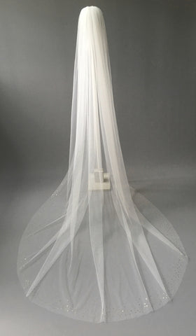 SAMPLE VEIL - Custom long length 1 tier gold sequin edged veil