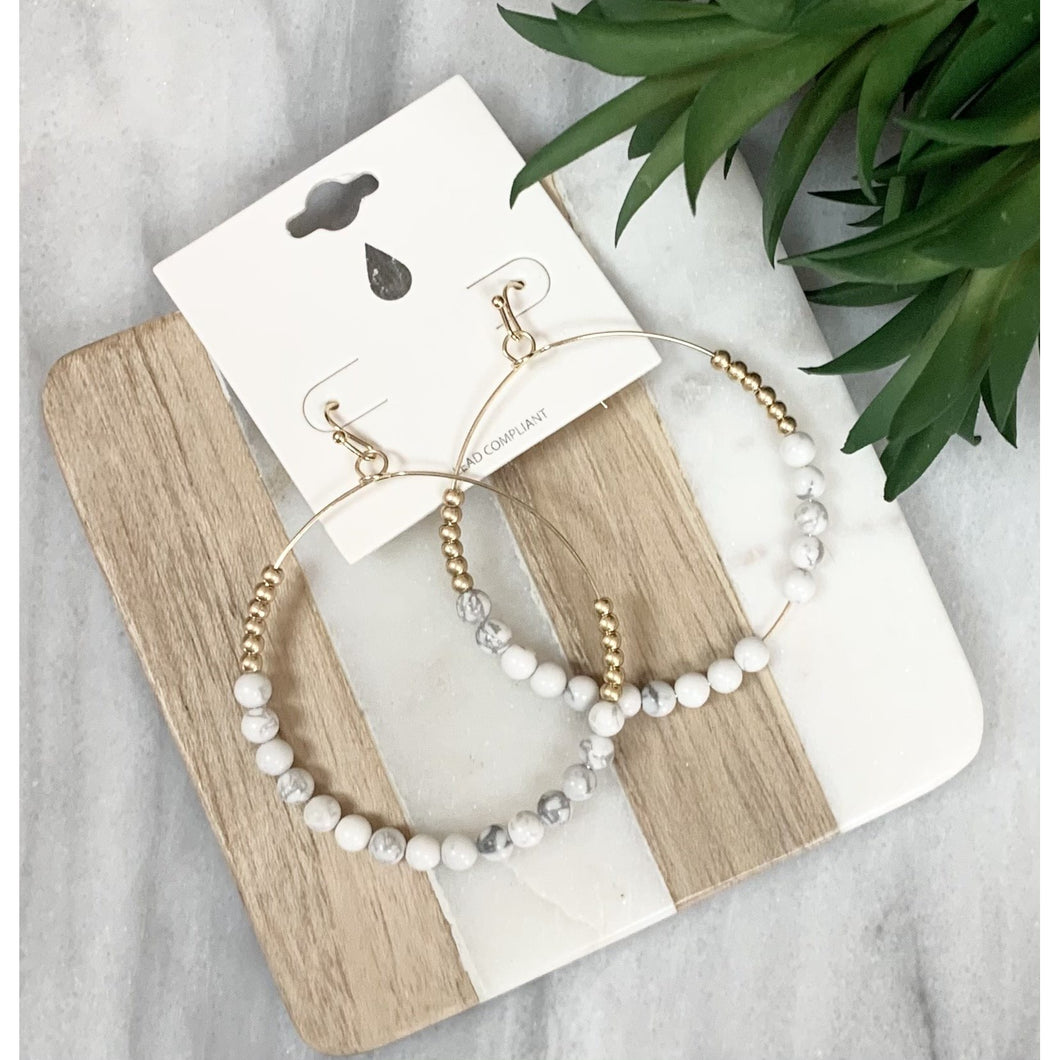 Beaded Hoop Earrings in Marble