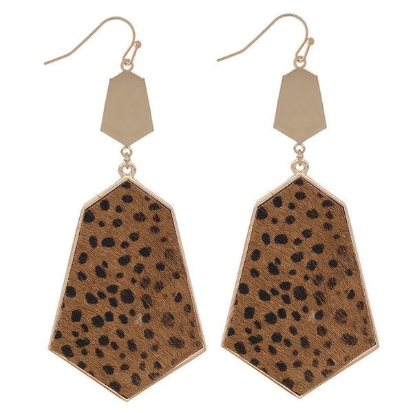 Faux Leather Dalmatian Drop Earrings