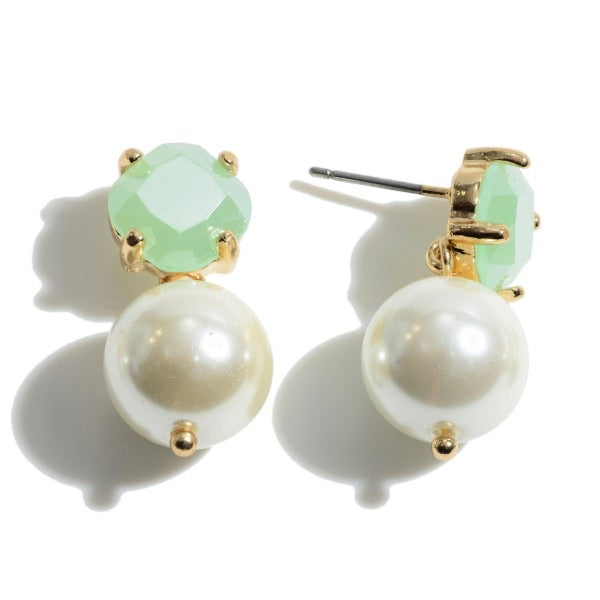 Mint To Be Pearl Drop Earrings