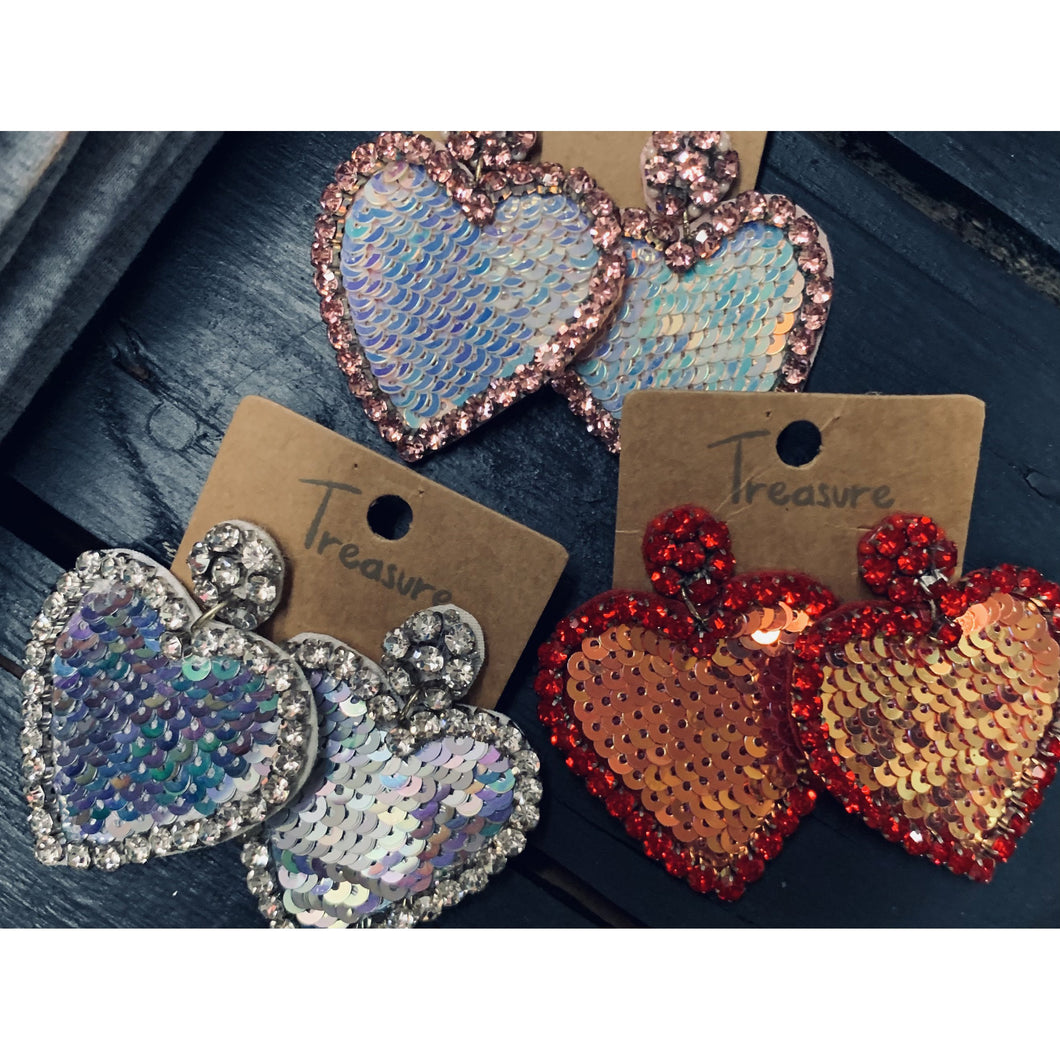 Rhinestone Sequin Heart Earings
