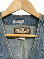80s Pistol Fitted Denim Vest - size W's medium
