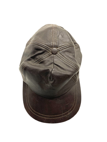 80s Brown Leather Ballcap