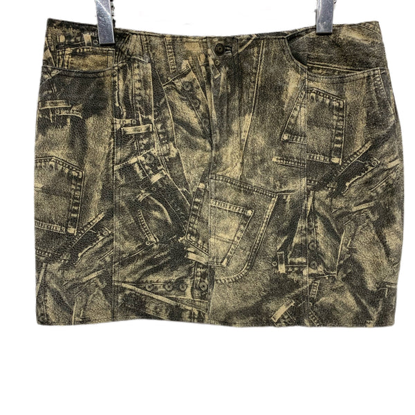 80s Wilson's Demin-Printed Suede Mini Skirt - size 12