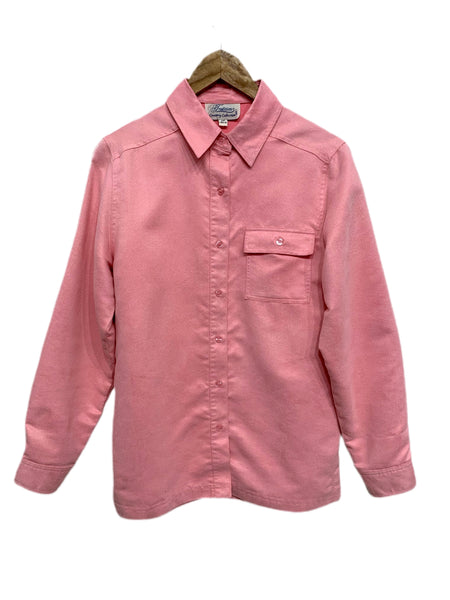 80s Tradition Pink Ultra Suede Button-down - size W's small