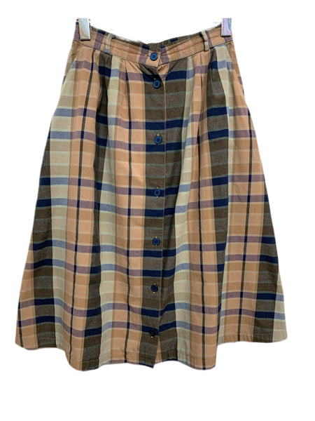 80s Opportunities Plaid Button-Down Skirt - size W's 8