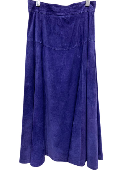 80s Boutique Arnelle Blue Suede Flared Skirt - size 14