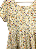 80s Fads Yellow Floral Jersey Dress - size W's medium