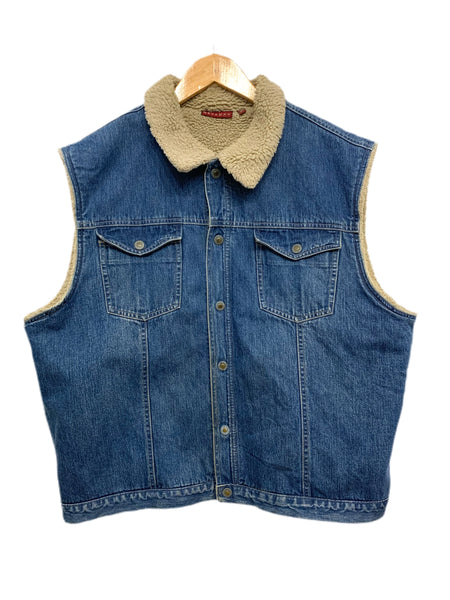 90s Nevada Faux-Lined Denim Vest - size M's extra-large