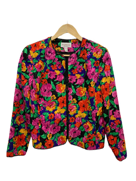 80s Papéll Floral Tailored Jacket - size 10