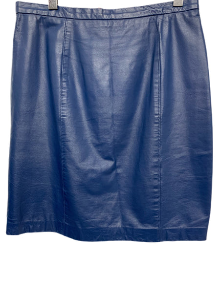 80s Blue Leather Skirt - size 32""