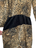 70s Dorlene Leopard Print Dress - size 9/10