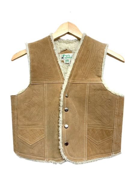 60s Faux-lined Tooled Leather Vest. Size small