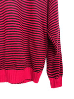 80s Kate Collins Pink/Black Striped Sweater - size W's medium