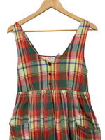 80s In Time Plaid Cotton Pinafore - size W's medium