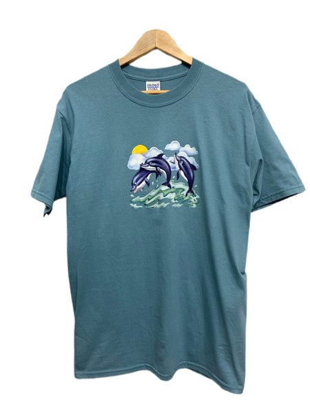90s Dolphin-Printed Gilden T - size medium