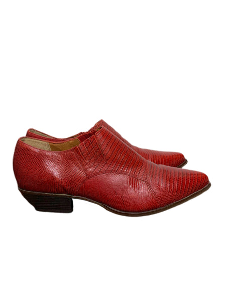 80s Nine West Red Lizard Cowboy Shoes - size W's 10/M's 9