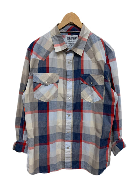 80s Levi's Plaid Western Snap-Down - size M's Large