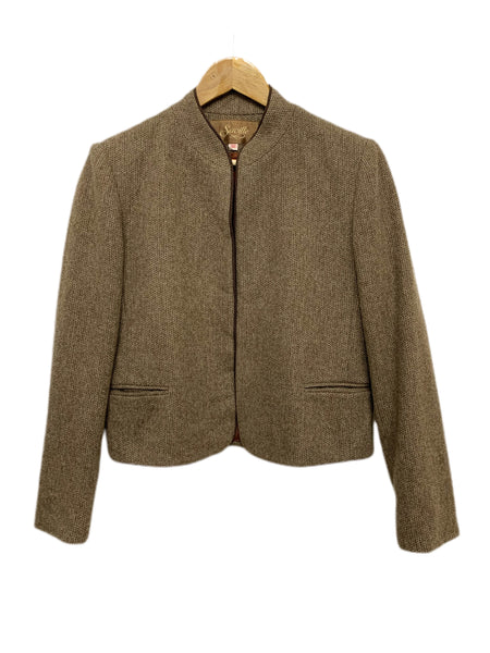 70s Saville Buttonless Tweed Jacket - size W's 10